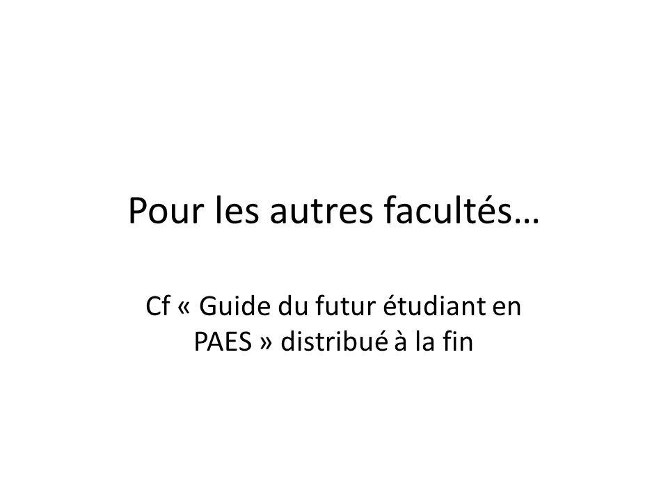 Pour les autres facultés… Cf « Guide du futur étudiant en PAES » distribué à la fin