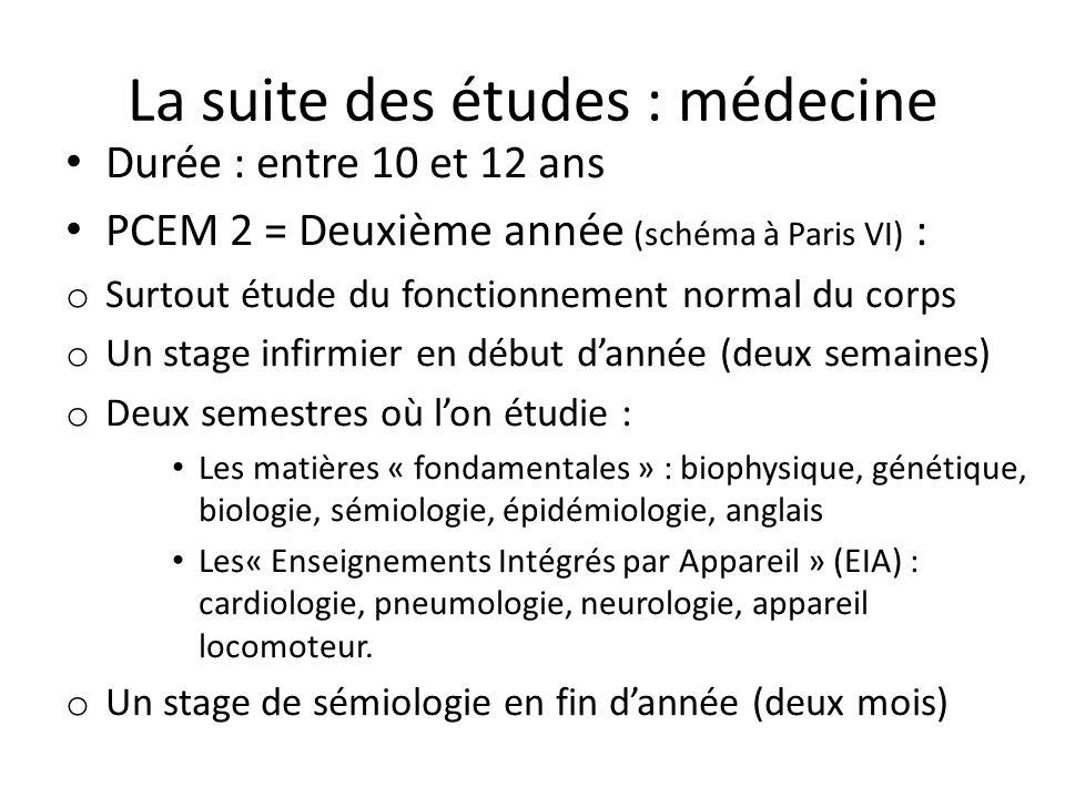 La suite des études : médecine Durée : entre 10 et 12 ans PCEM 2 = Deuxième année (schéma à Paris VI) : o Surtout étude du fonctionnement normal du co