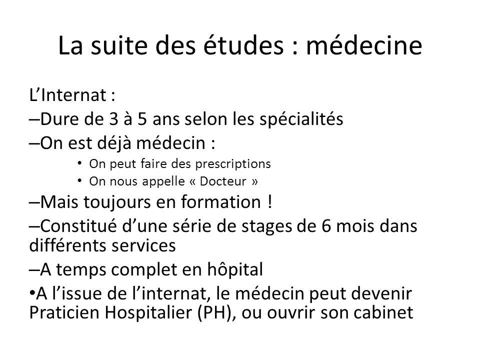 La suite des études : médecine L'Internat : – Dure de 3 à 5 ans selon les spécialités – On est déjà médecin : On peut faire des prescriptions On nous appelle « Docteur » – Mais toujours en formation .