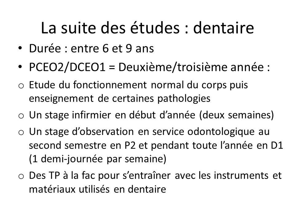 La suite des études : dentaire Durée : entre 6 et 9 ans PCEO2/DCEO1 = Deuxième/troisième année : o Etude du fonctionnement normal du corps puis enseignement de certaines pathologies o Un stage infirmier en début d'année (deux semaines) o Un stage d'observation en service odontologique au second semestre en P2 et pendant toute l'année en D1 (1 demi-journée par semaine) o Des TP à la fac pour s'entraîner avec les instruments et matériaux utilisés en dentaire