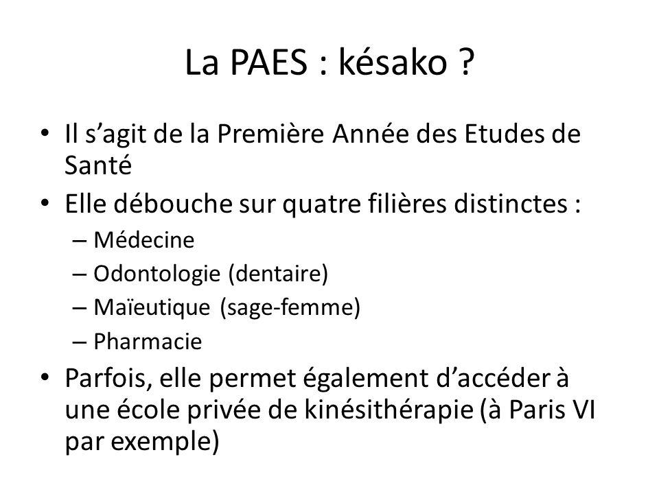 La PAES : késako ? Il s'agit de la Première Année des Etudes de Santé Elle débouche sur quatre filières distinctes : – Médecine – Odontologie (dentair