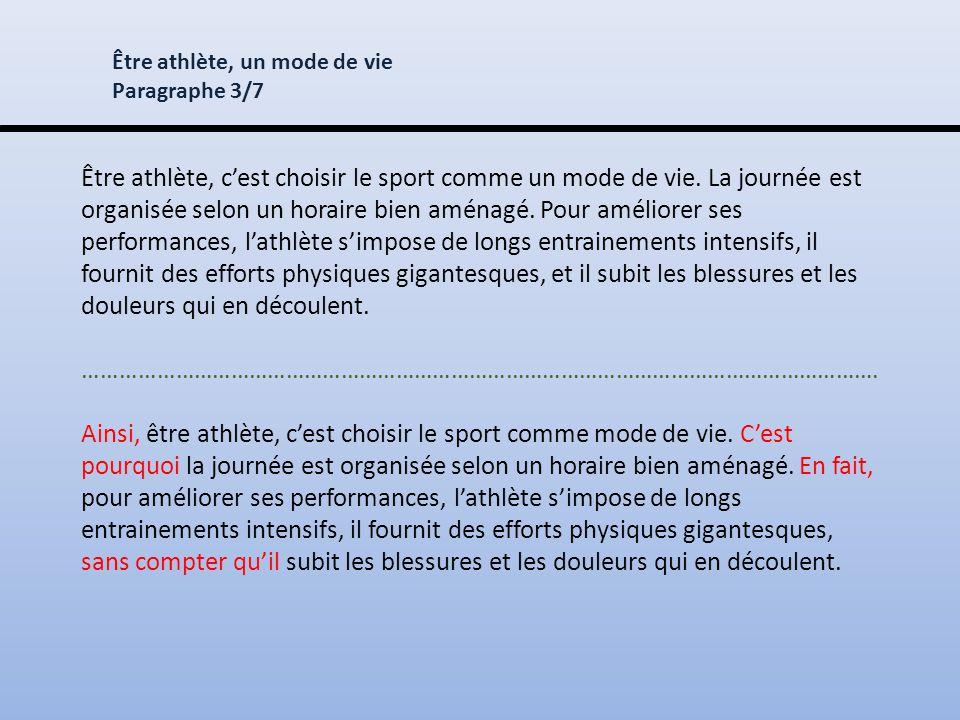 Être athlète, c'est choisir le sport comme un mode de vie.