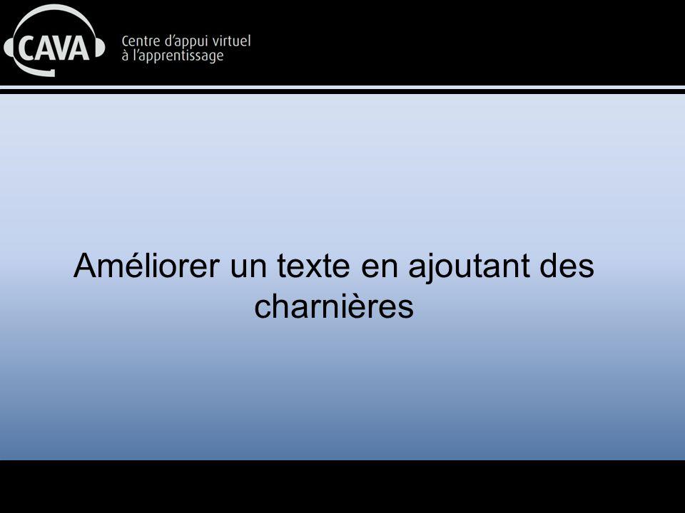 Objectif: Transformer un texte en ajoutant des charnières afin d'en améliorer la cohésion et l'enchaînement des idées.