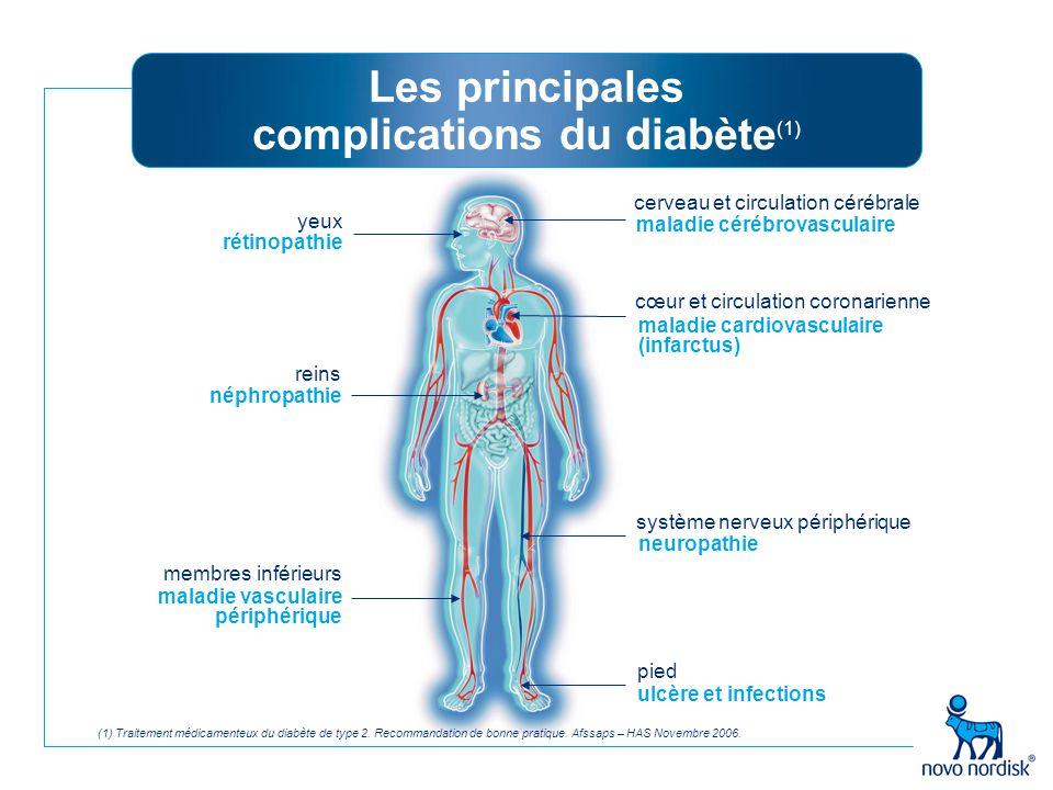 (1) Traitement médicamenteux du diabète de type 2. Recommandation de bonne pratique. Afssaps – HAS Novembre 2006. Les principales complications du dia