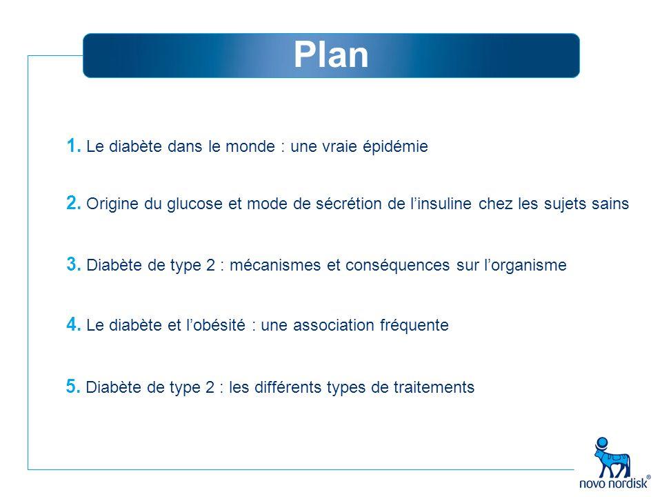 1. Le diabète dans le monde : une vraie épidémie 2. Origine du glucose et mode de sécrétion de l'insuline chez les sujets sains 3. Diabète de type 2 :