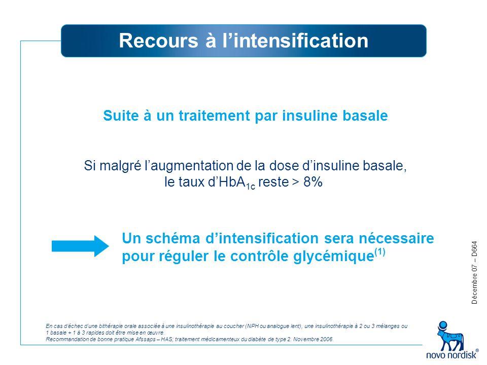 Recours à l'intensification En cas d'échec d'une bithérapie orale associée à une insulinothérapie au coucher (NPH ou analogue lent), une insulinothéra