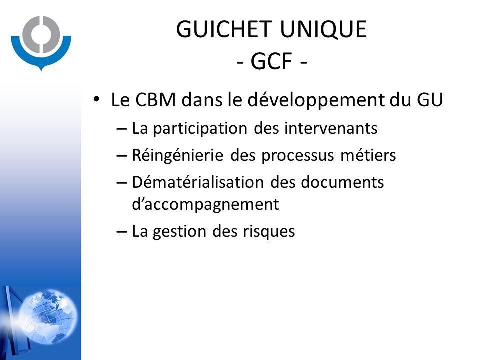 GUICHET UNIQUE - GCF - Le CBM dans le développement du GU – La participation des intervenants – Réingénierie des processus métiers – Dématérialisation