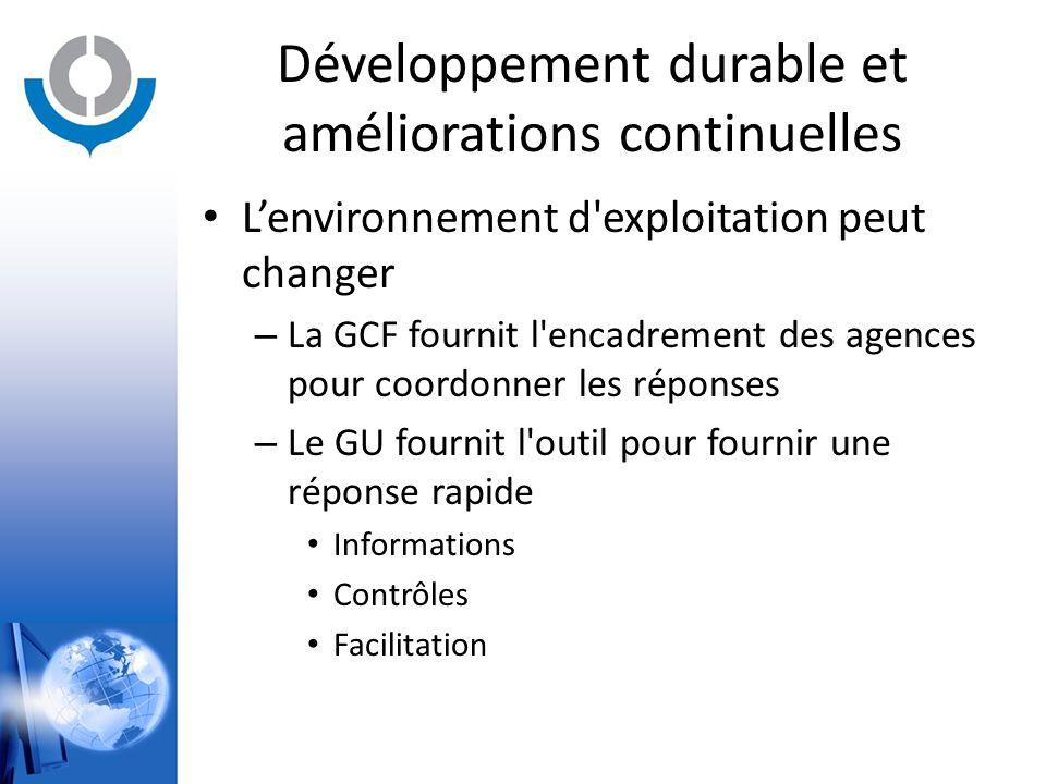 Développement durable et améliorations continuelles L'environnement d'exploitation peut changer – La GCF fournit l'encadrement des agences pour coordo