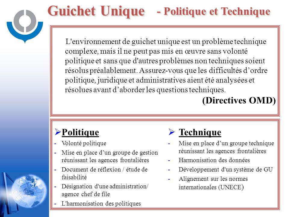 Guichet Unique - Politique et Technique L'environnement de guichet unique est un problème technique complexe, mais il ne peut pas mis en œuvre sans vo