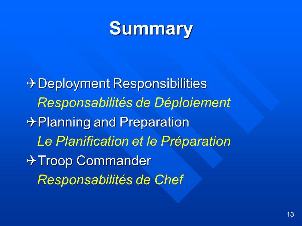 13 Summary  Deployment Responsibilities Responsabilités de Déploiement  Planning and Preparation Le Planification et le Préparation  Troop Commander Responsabilités de Chef