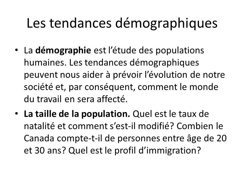 Les tendances démographiques La démographie est l'étude des populations humaines.