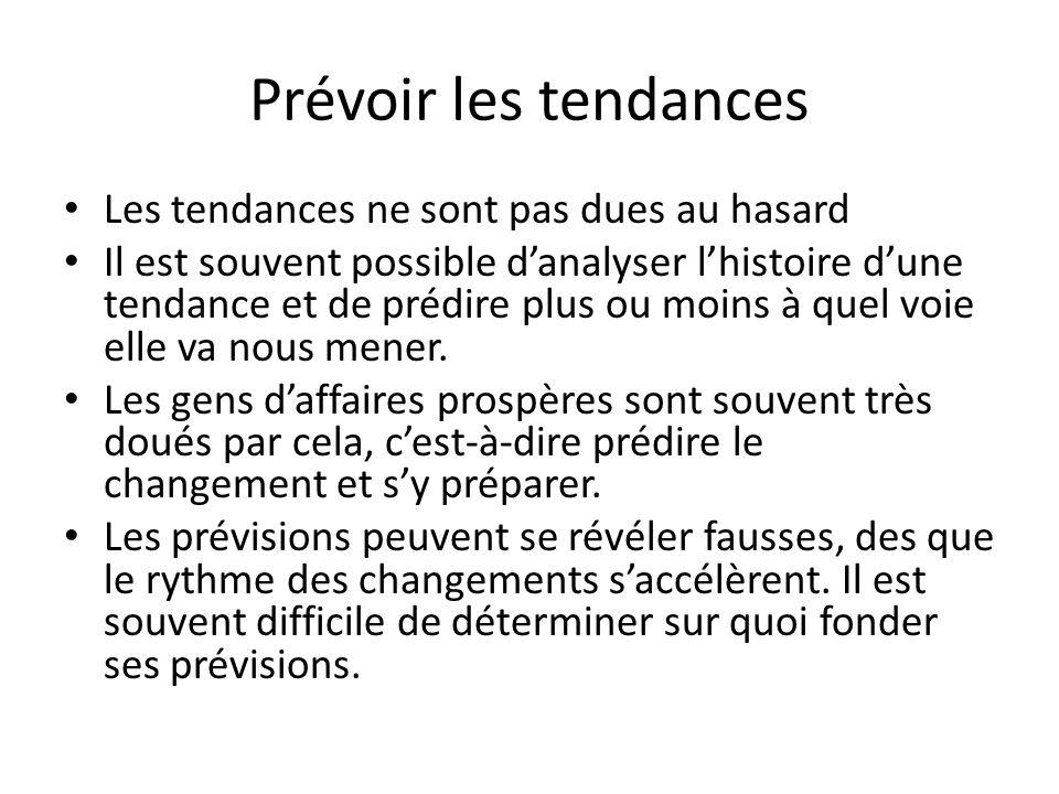 Prévoir les tendances Les tendances ne sont pas dues au hasard Il est souvent possible d'analyser l'histoire d'une tendance et de prédire plus ou moins à quel voie elle va nous mener.