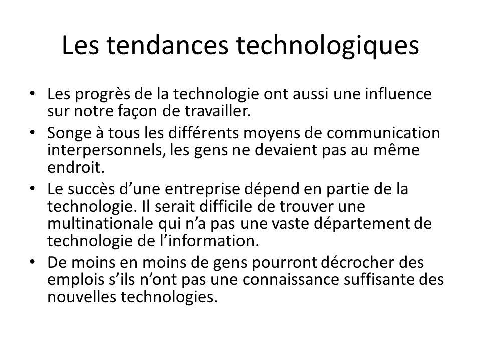 Les tendances technologiques Les progrès de la technologie ont aussi une influence sur notre façon de travailler.