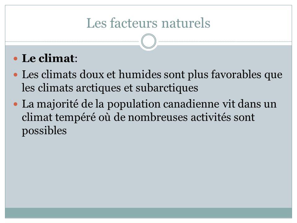 Les facteurs naturels Le climat: Les climats doux et humides sont plus favorables que les climats arctiques et subarctiques La majorité de la population canadienne vit dans un climat tempéré où de nombreuses activités sont possibles