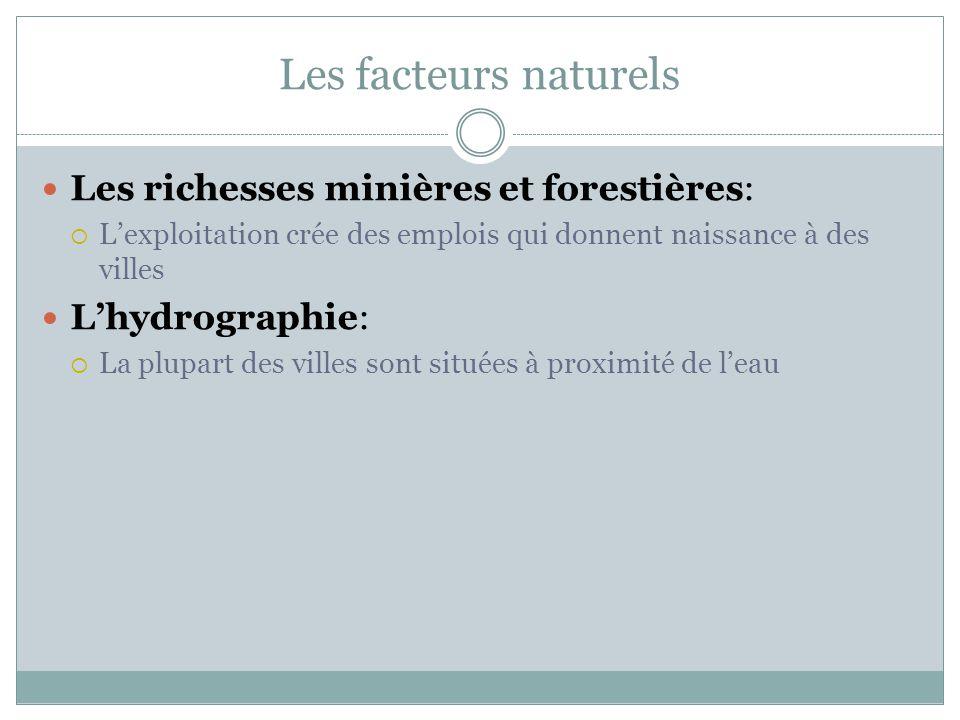 Les facteurs naturels Les richesses minières et forestières:  L'exploitation crée des emplois qui donnent naissance à des villes L'hydrographie:  La plupart des villes sont situées à proximité de l'eau
