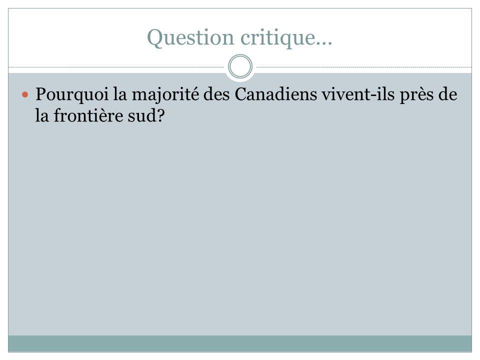 Question critique… Pourquoi la majorité des Canadiens vivent-ils près de la frontière sud?