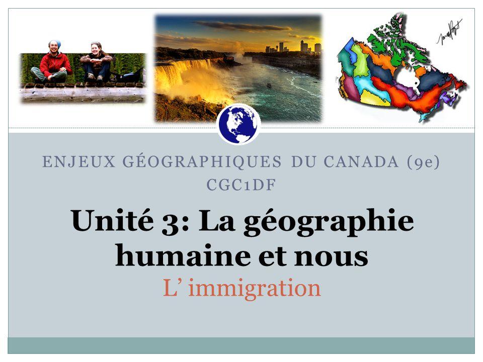 Unité 3: La géographie humaine et nous L' immigration Canadian War Museum ENJEUX GÉOGRAPHIQUES DU CANADA (9e) CGC1DF