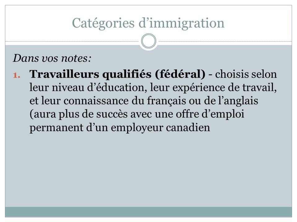 Catégories d'immigration Dans vos notes: 1.
