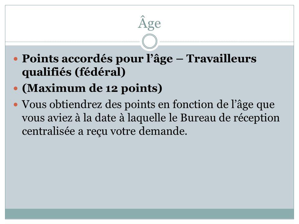 Âge Points accordés pour l'âge – Travailleurs qualifiés (fédéral) (Maximum de 12 points) Vous obtiendrez des points en fonction de l'âge que vous aviez à la date à laquelle le Bureau de réception centralisée a reçu votre demande.