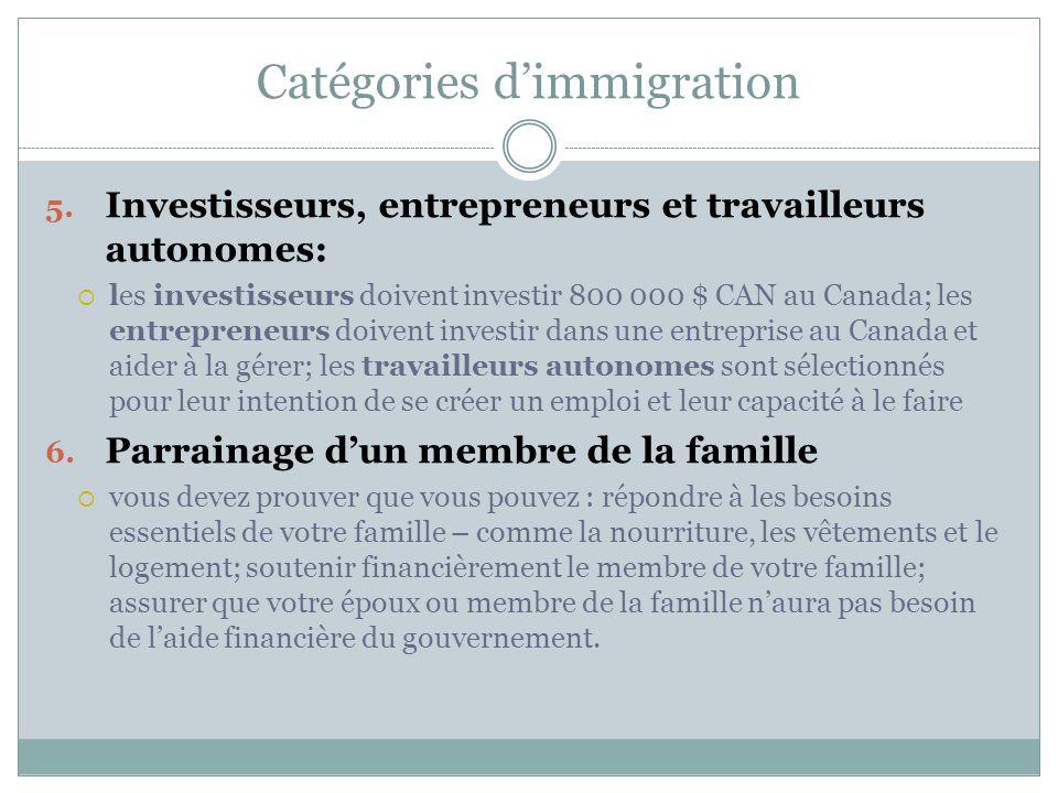 Catégories d'immigration 5.