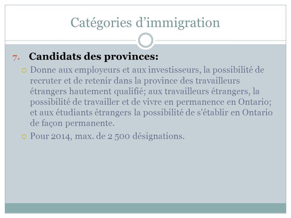 Catégories d'immigration 7.