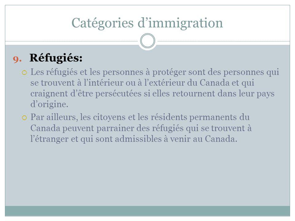 Catégories d'immigration 9.