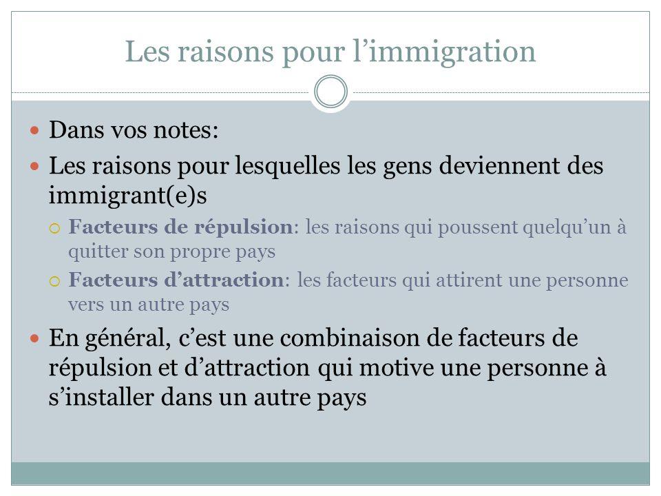 Les raisons pour l'immigration Dans vos notes: Les raisons pour lesquelles les gens deviennent des immigrant(e)s  Facteurs de répulsion: les raisons qui poussent quelqu'un à quitter son propre pays  Facteurs d'attraction: les facteurs qui attirent une personne vers un autre pays En général, c'est une combinaison de facteurs de répulsion et d'attraction qui motive une personne à s'installer dans un autre pays