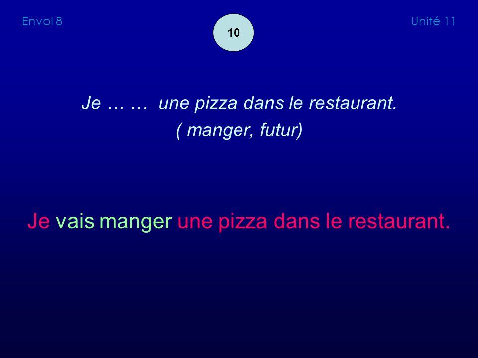 Je … … une pizza dans le restaurant. ( manger, futur) Je vais manger une pizza dans le restaurant. Envol 8 Unité 11 10