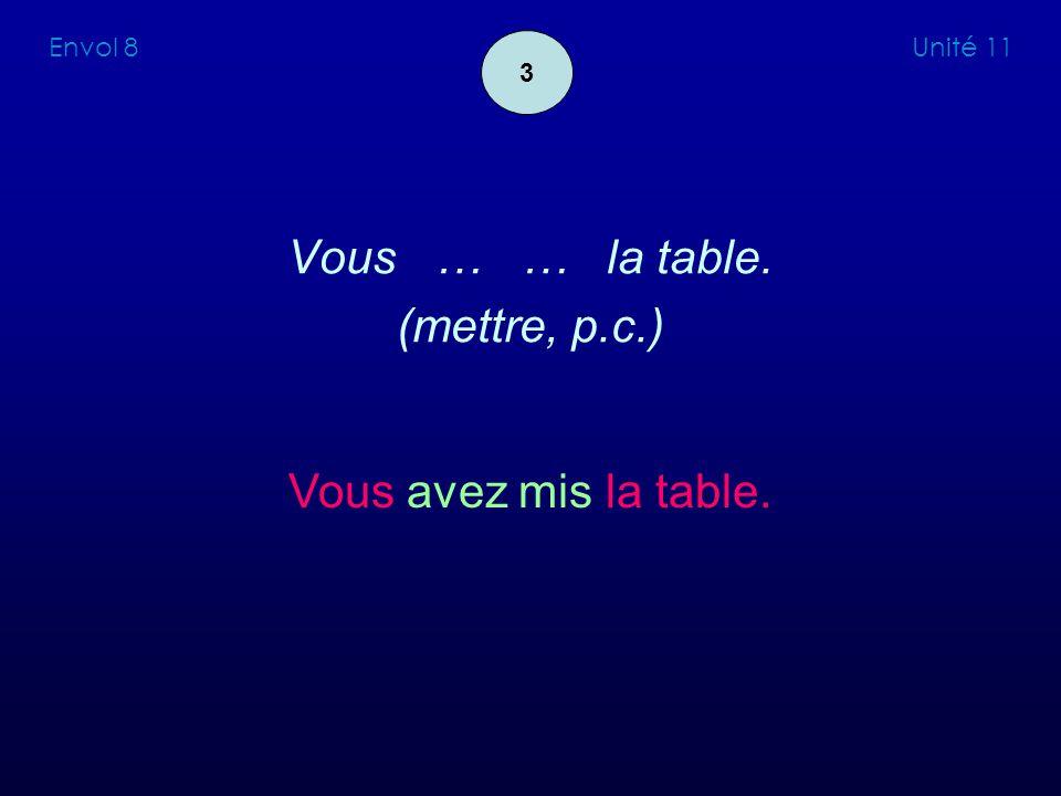 Vous … … la table. (mettre, p.c.) Vous avez mis la table. Envol 8 Unité 11 3