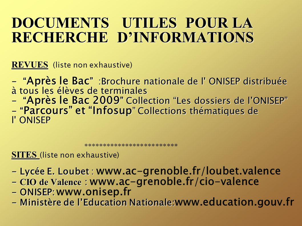 """DOCUMENTS UTILES POUR LA RECHERCHE D'INFORMATIONS REVUES - """" Après le Bac """" :Brochure nationale de l' ONISEP distribuée à tous les élèves de terminale"""