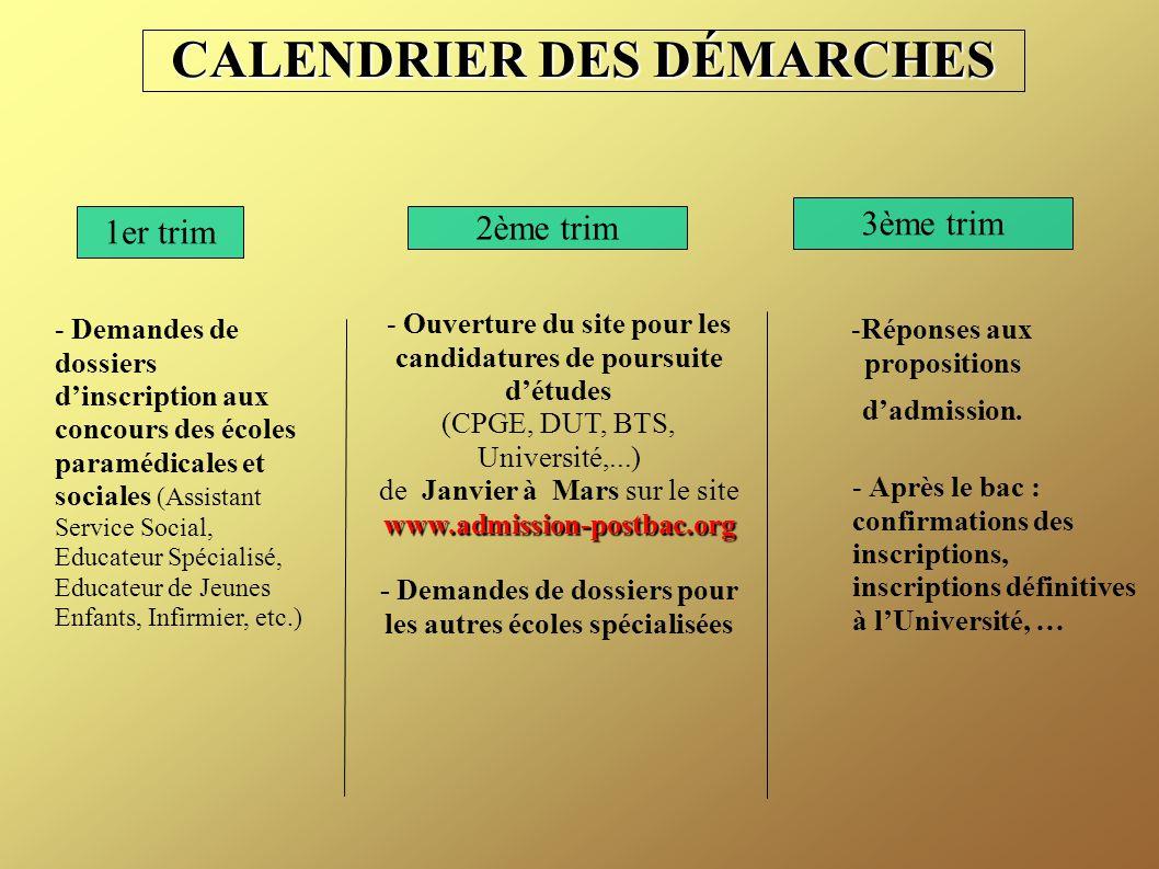 CALENDRIER DES DÉMARCHES 1er trim 2ème trim 3ème trim - Demandes de dossiers d'inscription aux concours des écoles paramédicales et sociales (Assistan