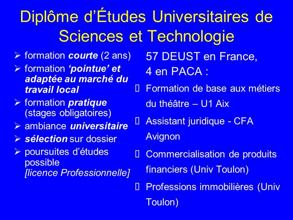 Diplôme d'Études Universitaires de Sciences et Technologie  formation courte (2 ans)  formation 'pointue' et adaptée au marché du travail local  fo