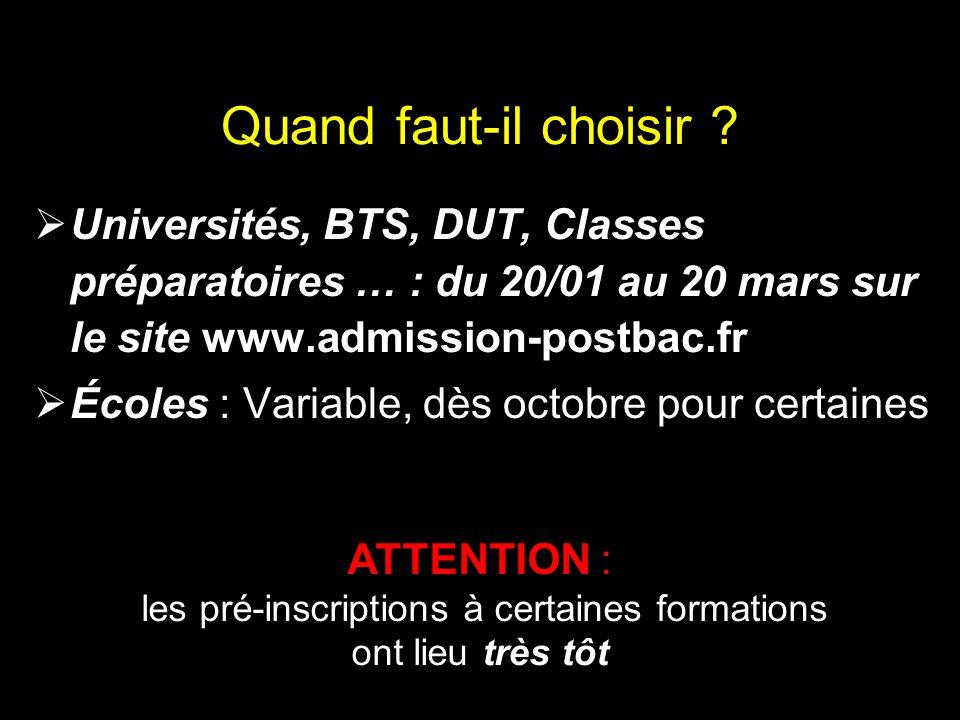 Quand faut-il choisir ?  Universités, BTS, DUT, Classes préparatoires … : du 20/01 au 20 mars sur le site www.admission-postbac.fr  Écoles : Variabl