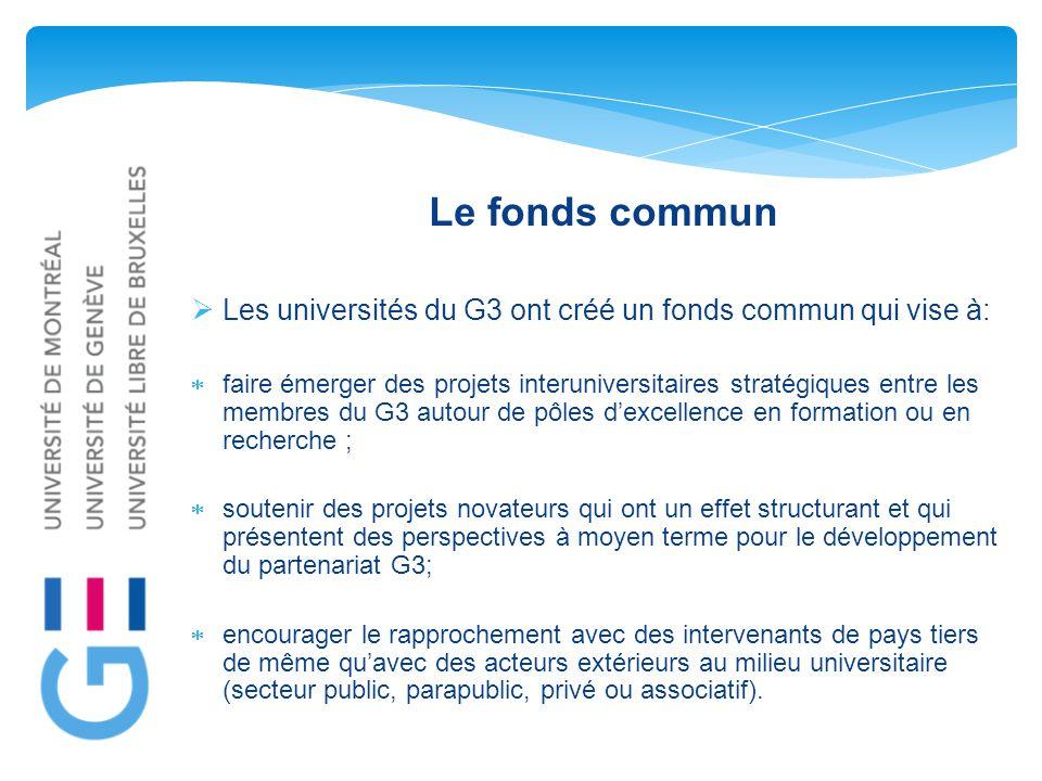Le fonds commun  Les universités du G3 ont créé un fonds commun qui vise à:  faire émerger des projets interuniversitaires stratégiques entre les membres du G3 autour de pôles d'excellence en formation ou en recherche ;  soutenir des projets novateurs qui ont un effet structurant et qui présentent des perspectives à moyen terme pour le développement du partenariat G3;  encourager le rapprochement avec des intervenants de pays tiers de même qu'avec des acteurs extérieurs au milieu universitaire (secteur public, parapublic, privé ou associatif).