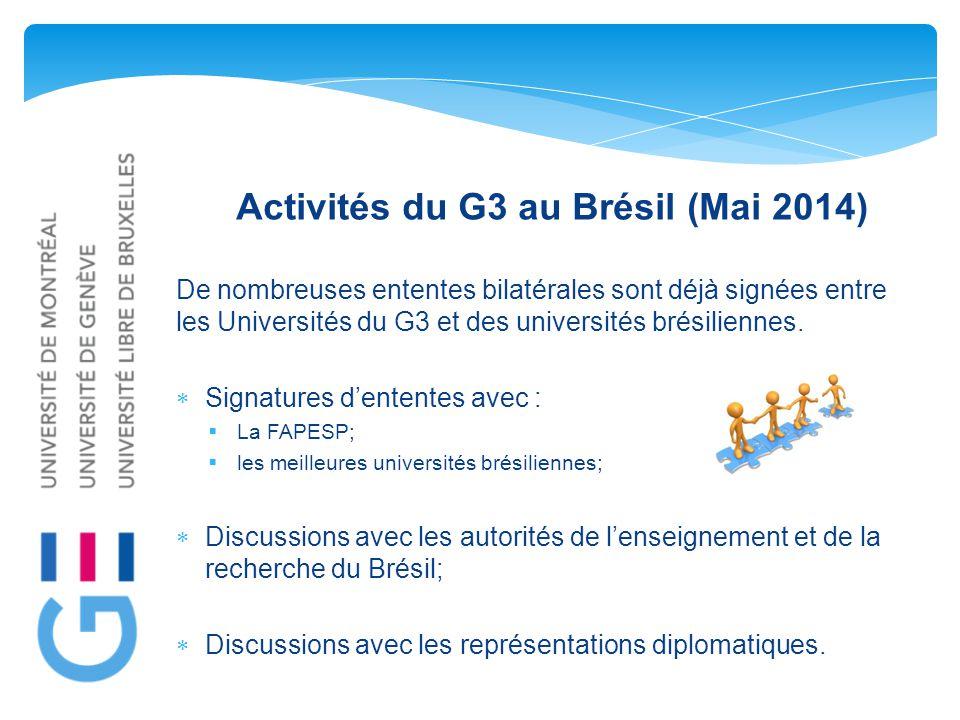 Activités du G3 au Brésil (Mai 2014) De nombreuses ententes bilatérales sont déjà signées entre les Universités du G3 et des universités brésiliennes.