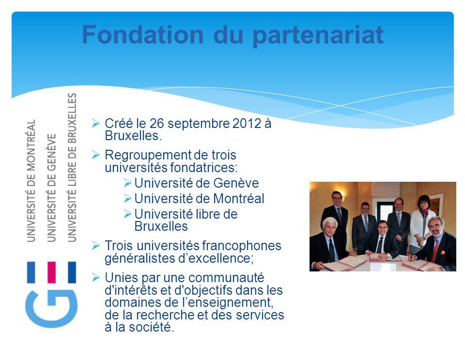 Fondation du partenariat  Créé le 26 septembre 2012 à Bruxelles.