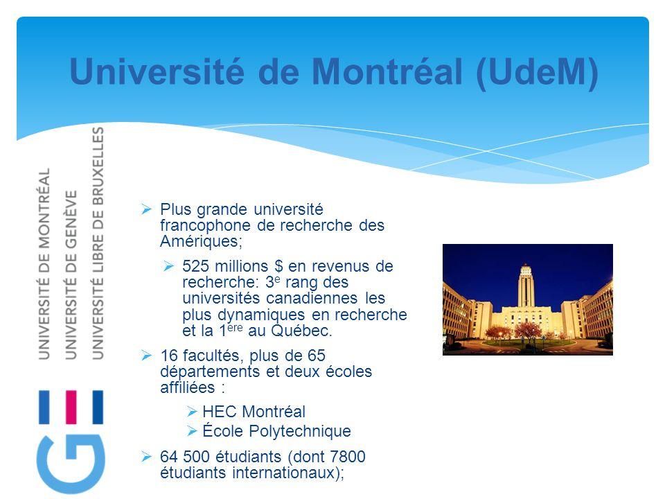 Université de Montréal (UdeM)  Plus grande université francophone de recherche des Amériques;  525 millions $ en revenus de recherche: 3 e rang des universités canadiennes les plus dynamiques en recherche et la 1 ere au Québec.