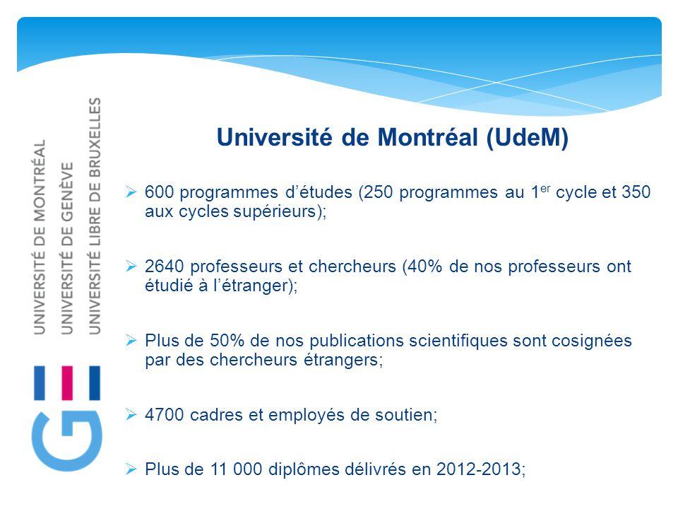 Université de Montréal (UdeM)  600 programmes d'études (250 programmes au 1 er cycle et 350 aux cycles supérieurs);  2640 professeurs et chercheurs (40% de nos professeurs ont étudié à l'étranger);  Plus de 50% de nos publications scientifiques sont cosignées par des chercheurs étrangers;  4700 cadres et employés de soutien;  Plus de 11 000 diplômes délivrés en 2012-2013;