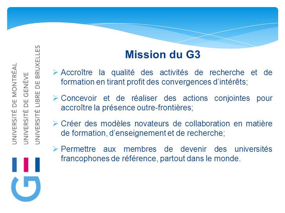 Mission du G3  Accroître la qualité des activités de recherche et de formation en tirant profit des convergences d'intérêts;  Concevoir et de réaliser des actions conjointes pour accroître la présence outre-frontières;  Créer des modèles novateurs de collaboration en matière de formation, d'enseignement et de recherche;  Permettre aux membres de devenir des universités francophones de référence, partout dans le monde.