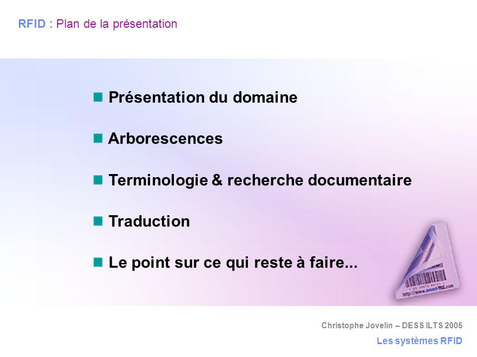 Christophe Jovelin – DESS ILTS 2005 Les systèmes RFID RFID : Plan de la présentation Présentation du domaine Arborescences Terminologie & recherche do