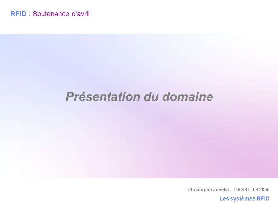 Christophe Jovelin – DESS ILTS 2005 Les systèmes RFID Présentation du domaine RFID : Soutenance d'avril