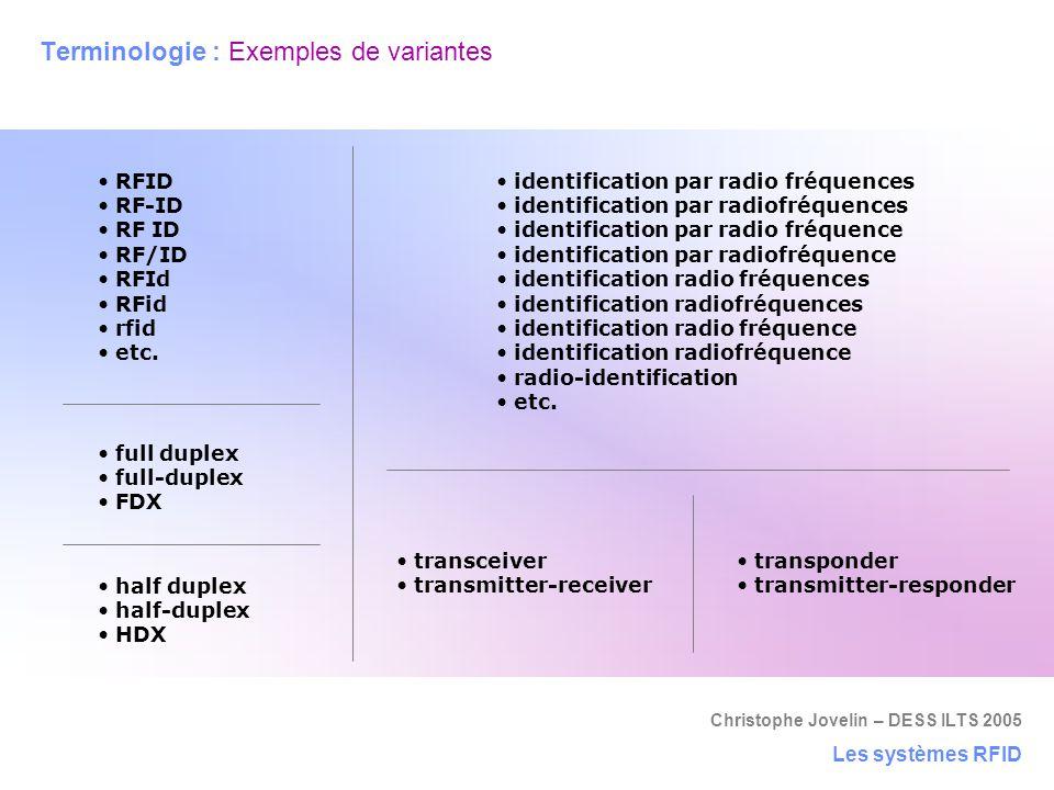 Christophe Jovelin – DESS ILTS 2005 RFID RF-ID RF ID RF/ID RFId RFid rfid etc. Terminologie : Exemples de variantes Les systèmes RFID identification p