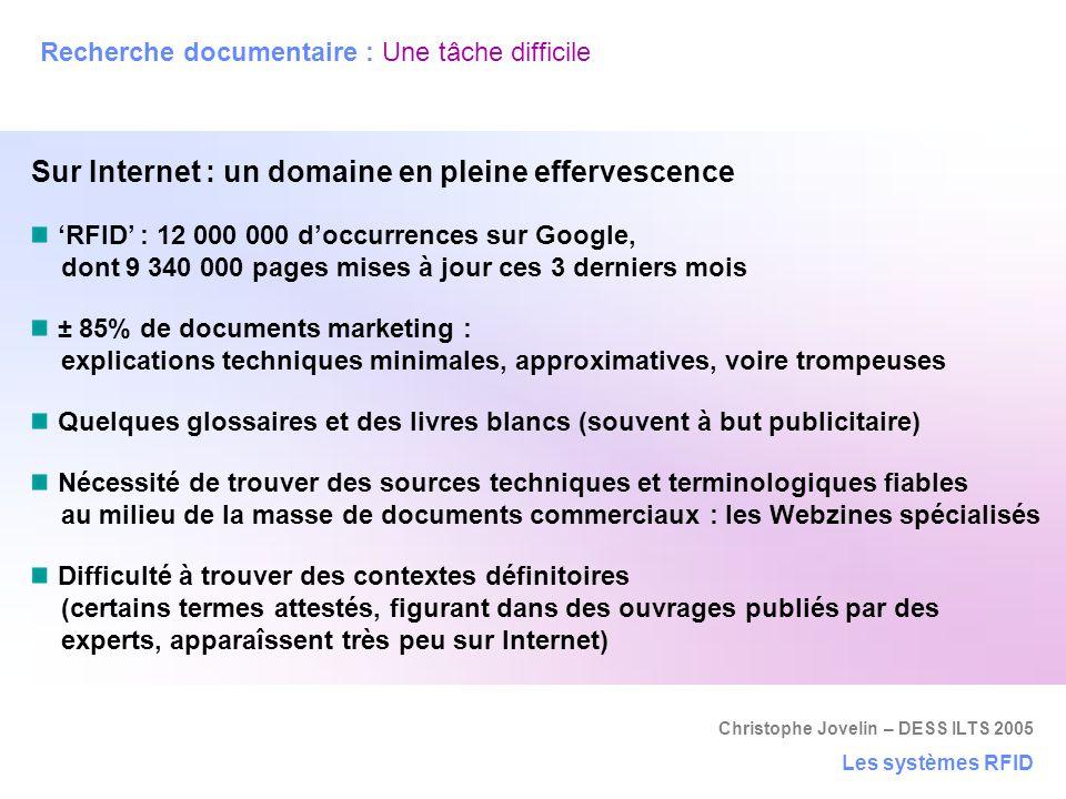 Christophe Jovelin – DESS ILTS 2005 Recherche documentaire : Une tâche difficile Les systèmes RFID Sur Internet : un domaine en pleine effervescence '