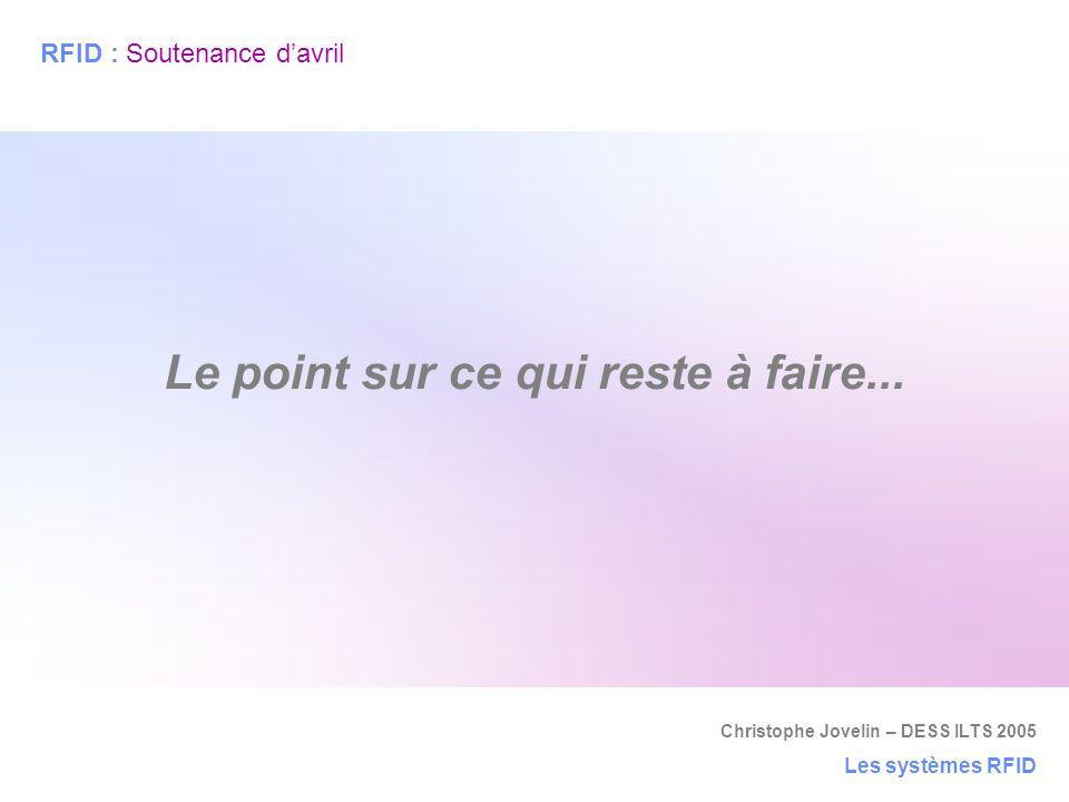 Christophe Jovelin – DESS ILTS 2005 Les systèmes RFID Le point sur ce qui reste à faire... RFID : Soutenance d'avril