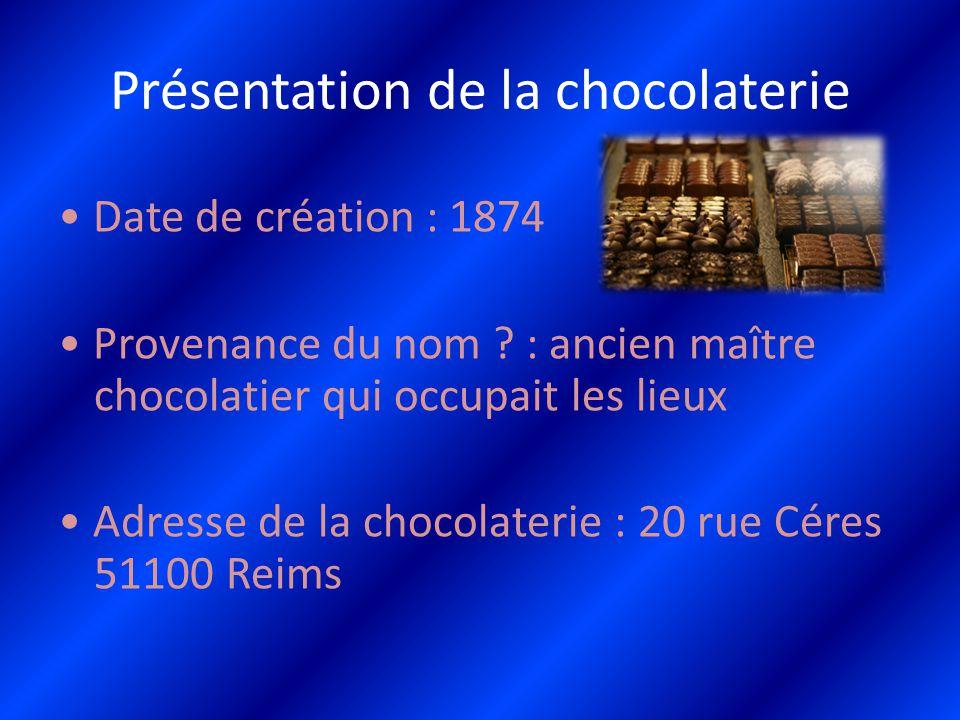 Présentation de la chocolaterie Date de création : 1874 Provenance du nom ? : ancien maître chocolatier qui occupait les lieux Adresse de la chocolate