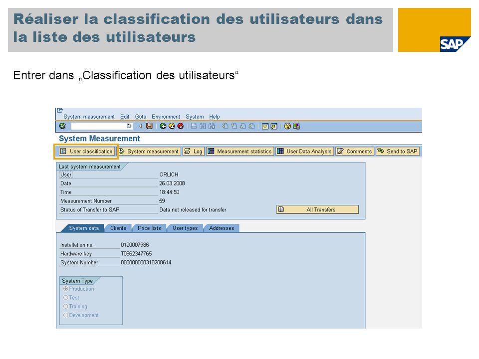 """Réaliser la classification des utilisateurs dans la liste des utilisateurs Entrer dans """"Classification des utilisateurs"""""""