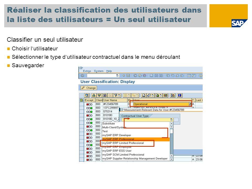 Réaliser la classification des utilisateurs dans la liste des utilisateurs = Un seul utilisateur Classifier un seul utilisateur Choisir l'utilisateur Sélectionner le type d'utilisateur contractuel dans le menu déroulant Sauvegarder