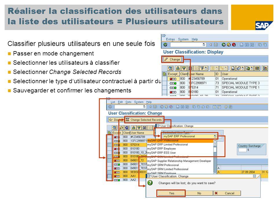 Réaliser la classification des utilisateurs dans la liste des utilisateurs = Plusieurs utilisateurs Classifier plusieurs utilisateurs en une seule fois Passer en mode changement Selectionner les utilisateurs à classifier Selectionner Change Selected Records Selectionner le type d'utilisateur contractuel à partir du menu déroulant Sauvegarder et confirmer les changements