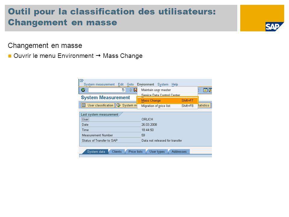Outil pour la classification des utilisateurs: Changement en masse Changement en masse Ouvrir le menu Environment  Mass Change
