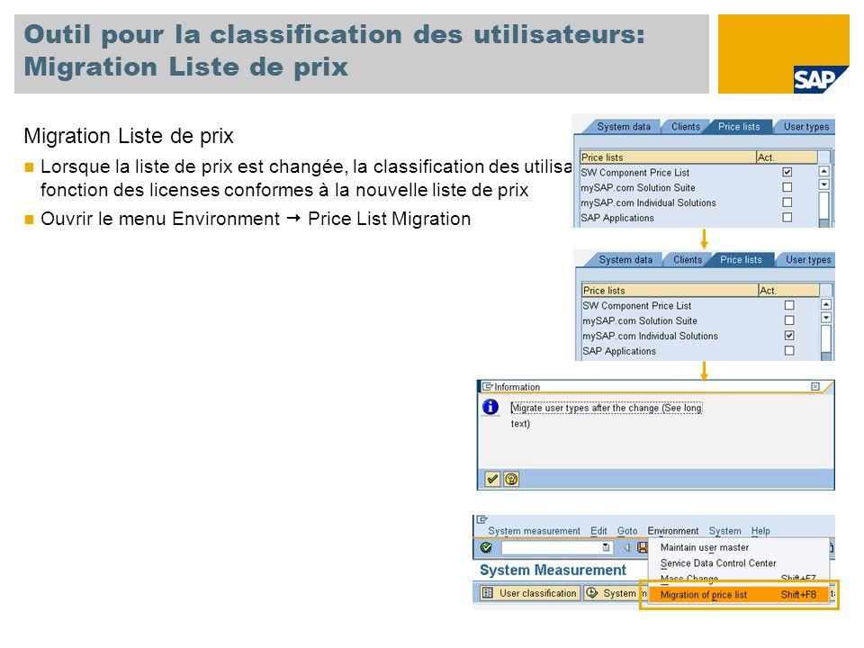 Outil pour la classification des utilisateurs: Migration Liste de prix Migration Liste de prix Lorsque la liste de prix est changée, la classification